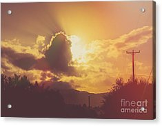 Glowing Orange Hilltop View Of An Afternoon Sunset Acrylic Print