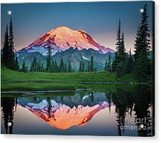 Glowing Peak - August Acrylic Print by Inge Johnsson