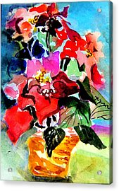 Glowing Poinsettias Acrylic Print by Mindy Newman