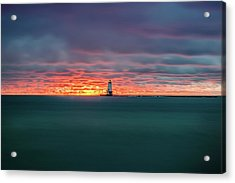 Glowing Sunset On Lake With Lighthouse Acrylic Print