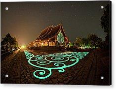 Acrylic Print featuring the photograph Glowing Wat Sirintorn Wararam Temple, Ubon by Pradeep Raja Prints