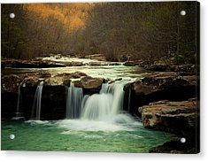 Glowing Waterfalls Acrylic Print by Iris Greenwell