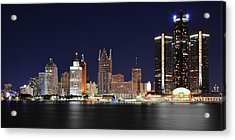 Gm Towers Over Detroit Acrylic Print by Frozen in Time Fine Art Photography