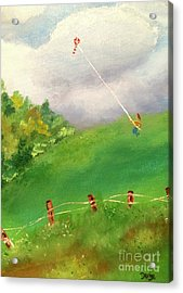 Acrylic Print featuring the painting Go Fly A Kite by Denise Tomasura