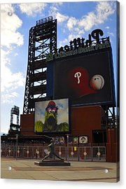 Go Phillies - Citizens Bank Park - Left Field Gate Acrylic Print by Bill Cannon