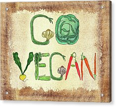 Go Vegan Watercolor Sign Acrylic Print