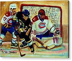 Goalie  And Hockey Art Acrylic Print by Carole Spandau
