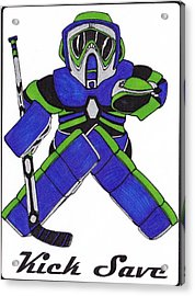 Goalie Blue Green Acrylic Print by Hockey Goalie