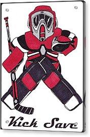 Goalie Red Acrylic Print by Hockey Goalie