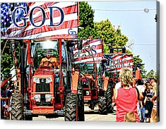 Acrylic Print featuring the photograph God Bless America And Farmers by Toni Hopper