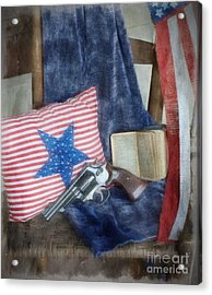 Acrylic Print featuring the photograph God, Guns And Old Glory by Benanne Stiens