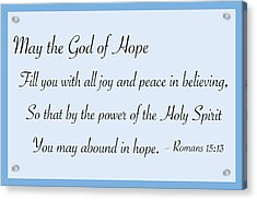 God Of Hope Acrylic Print by Greg Joens