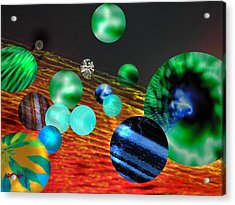 Acrylic Print featuring the digital art God Playing Marbles Tribute To Donovan by Seth Weaver