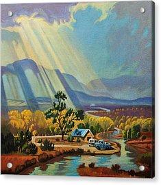 God Rays On A Blue Roof Acrylic Print