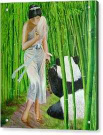 Goddess Of Mercy And Panda Acrylic Print by Lian Zhen