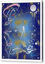 Acrylic Print featuring the mixed media Goddess Of The Night Sky by Larry Talley