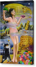 Goddess Who Seals The Sky With Color Rocks Acrylic Print by Lian Zhen