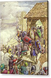 Godfrey De Bouillon's Forces Breach The Walls Of Jerusalem Acrylic Print