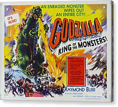 Godzilla King Of The Monsters An Enraged Monster Wipes Out An Entire City Vintage Movie Poster Acrylic Print