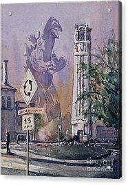 Acrylic Print featuring the painting Godzilla Smash Ncsu- Raleigh by Ryan Fox