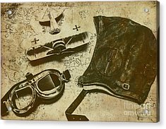 Goggles, Pouch And Model Biplane On Map Acrylic Print by Jorgo Photography - Wall Art Gallery