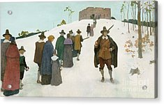 Going To Church Acrylic Print by Newell Convers Wyeth