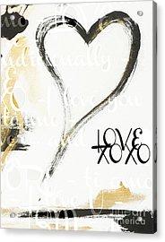 Gold And Black Artsy Heart Xoxo Acrylic Print by WALL ART and HOME DECOR