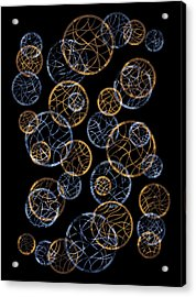 Gold And Blue Abstract Circles Acrylic Print by Frank Tschakert