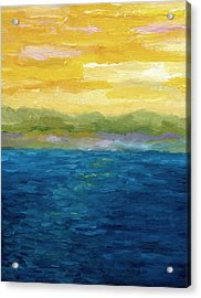 Gold And Pink Sunset  Acrylic Print by Michelle Calkins
