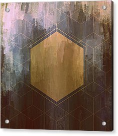 Gold And Purple Hexagon Acrylic Print