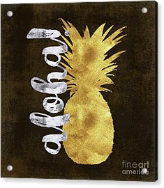 Gold And Silver Aloha Pineapple Tropical Fruit Of Hawaii Acrylic Print by Tina Lavoie