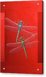 Acrylic Print featuring the digital art Gold And Silver Dragonflies On Red Canvas by Serge Averbukh