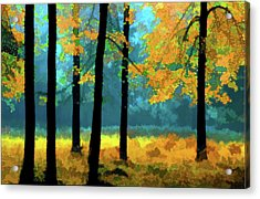 Acrylic Print featuring the photograph Gold Anl Blue Autumn Day by Vladimir Kholostykh