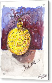 Gold Christmas Ornament Acrylic Print by Michele Hollister - for Nancy Asbell