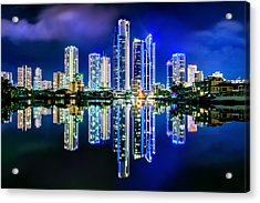 Gold Coast Reflections Acrylic Print by Az Jackson