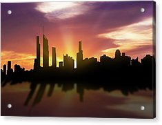 Gold Coast Skyline Sunset Augc22 Acrylic Print