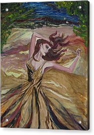 Gold Dress In The Wind Acrylic Print by Penfield Hondros
