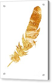 Gold Feather Watercolor Painting Acrylic Print by Joanna Szmerdt