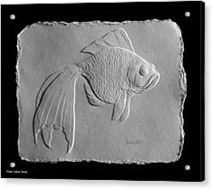 Acrylic Print featuring the relief Gold Fish 1 by Suhas Tavkar