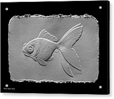 Acrylic Print featuring the relief Gold Fish1a by Suhas Tavkar