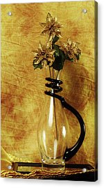 Gold Flowers In Vase Acrylic Print