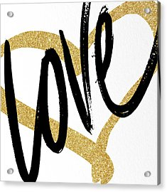 Gold Heart Black Script Love Acrylic Print by South Social Studio