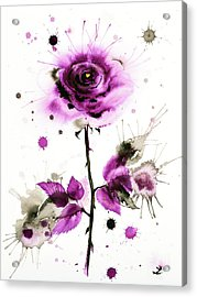 Gold Heart Of The Rose Acrylic Print by Zaira Dzhaubaeva