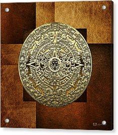 Gold Mayan-aztec Calendar On Brown Leather Acrylic Print