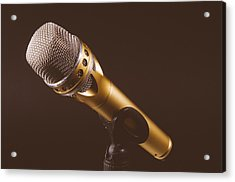 Gold Microphone Acrylic Print by Happy Home Artistry
