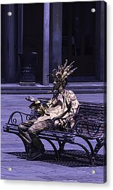 Gold Mime On Bench Acrylic Print by Garry Gay