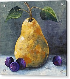 Gold Pear With Grapes II  Acrylic Print