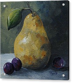 Gold Pear With Grapes  Acrylic Print by Torrie Smiley