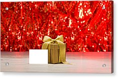 Acrylic Print featuring the photograph Gold Present With Place Card  by Ulrich Schade