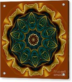 Gold Rose Mandala Acrylic Print